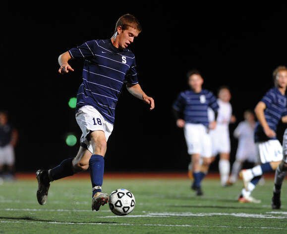 Staples' #18 Ethan Bradeen, during boys soccer action against Fairfield Ludlowe in Fairfield, Conn. on Tuesday October 16, 2012. Photo: Christian Abraham / Connecticut Post