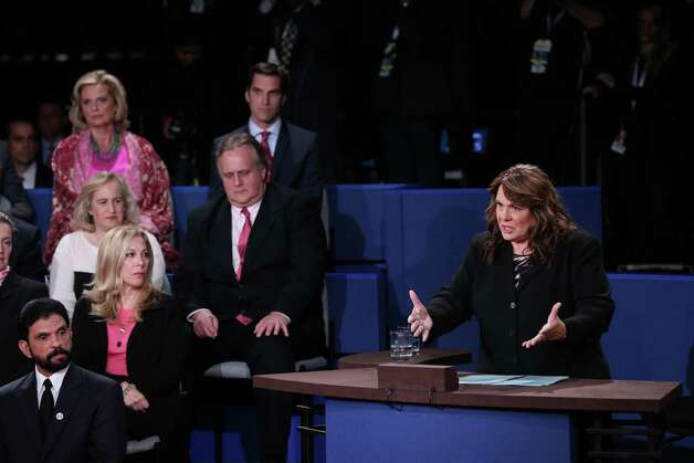 HEMPSTEAD, NY - OCTOBER 16: Moderator Candy Crowley speaks during the debate between Republican presidential candidate Mitt Romney and U.S. President Barack Obama during a town hall style meeting at Hofstra University October 16, 2012 in Hempstead, New York. During the second of three presidential debates, the candidates fielded questions from audience members on a wide variety of issues. (Photo by Win McNamee/Getty Images) Photo: Win McNamee, Staff / 2012 Getty Images