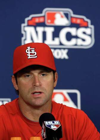 St. Louis Cardinals manager Mike Matheny speaks during a news conference Tuesday, Oct. 16, 2012, in St. Louis. The Cardinals host the San Francisco Giants in Game 3 baseball's National League championship series on Wednesday. (AP Photo/Jeff Roberson) Photo: Jeff Roberson