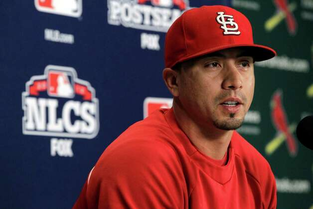 St. Louis Cardinals starting pitcher Kyle Lohse speaks during a news conference Tuesday, Oct. 16, 2012, in St. Louis. Lohse is scheduled to start Game 3 of baseball's National League championship series Wednesday, when they host the San Francisco Giants. (AP Photo/Jeff Roberson) Photo: Jeff Roberson
