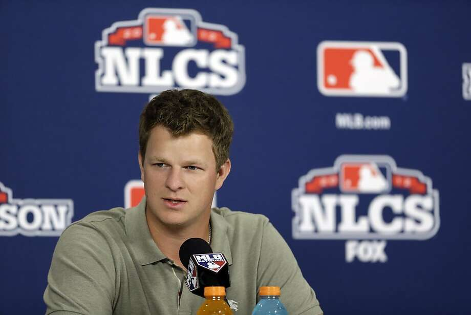 During his news conference, Matt Cain got a kick of out a reporter. Photo: Jeff Roberson, Associated Press