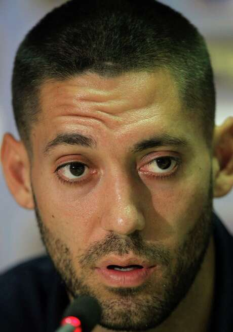 Tottenham's Clint Dempsey of  the U.S. attends a news conference at the Olympic stadium in Athens, Wednesday, Oct. 3, 2012. Tottenham will face Panathinaikos on Thursday in an Europa League Group J match. (AP Photo/Thanassis Stavrakis) Photo: Thanassis Stavrakis, STF / AP