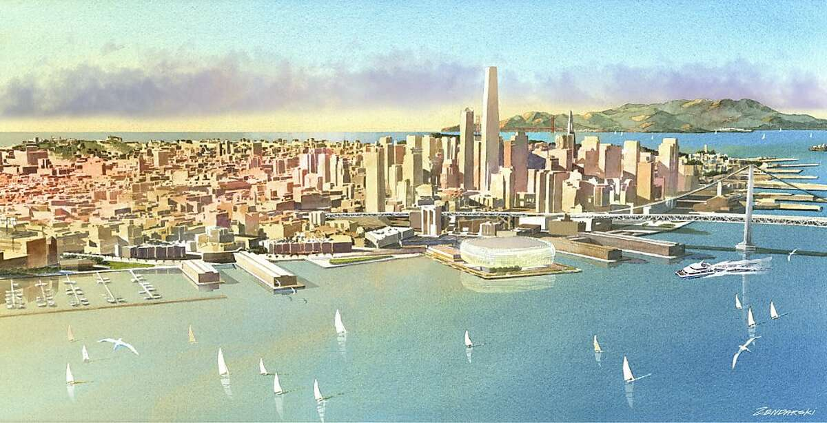 Renderings of the Warriors stadium at piers 30-32. Concept by Future Cities. Aerial view.