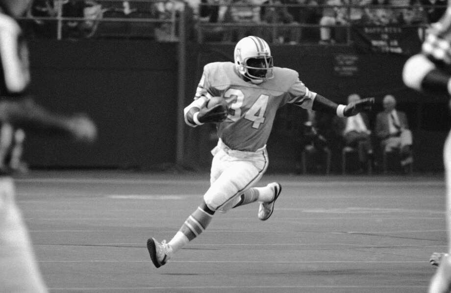 Earl Campbell: Pro Football Hall of Fame running back was five-time Pro Bowl and three-time All-Pro selection, in addition to several other honors. Played most of his career with the Houston Oilers, and finished it playing for the New Orleans Saints. Photo: Ed Kolenovsky, Associated Press