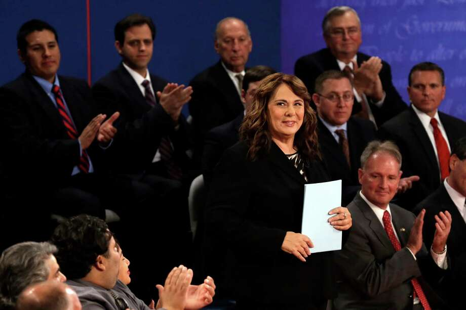 Moderator Candy Crowley is introduced before the second presidential debate at Hofstra University, Tuesday, Oct. 16, 2012, in Hempstead, N.Y. (AP Photo/Charlie Neibergall) Photo: Charlie Neibergall