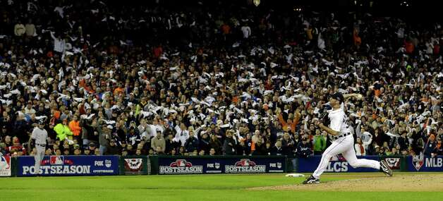 Detroit Tigers' Justin Verlander throws in the seventh inning during Game 3 of the American League championship series against the New York Yankees Tuesday, Oct. 16, 2012, in Detroit. (AP Photo/Paul Sancya ) Photo: Paul Sancya