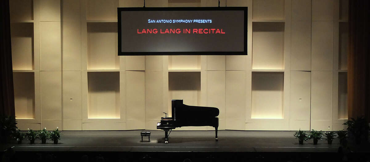 The stage is set for a evening with world-renowned pianist Lang Lang at the Majestic Theater on Tuesday, Oct. 16, 2012.