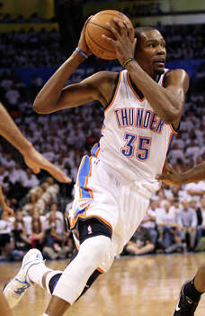 Kevin Durant: Three-time NBA All-Star small forward has earned several accolades, including a gold medal as part of the USA's basketball team. He lead the Oklahoma City Thunder past the Spurs to the 2012 NBA Finals, where his team lost to the Miami Heat. Photo: Jerry Lara, San Antonio Express-News / © 2012 San Antonio Express-News