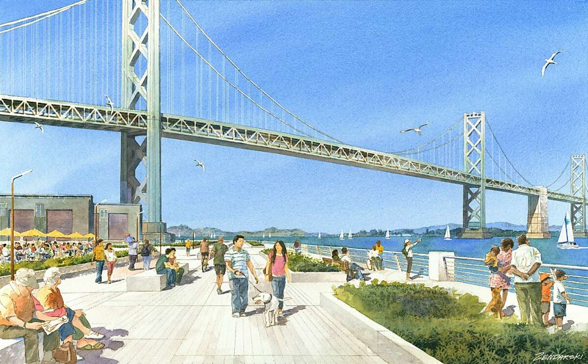 Renderings of the Warriors stadium at piers 30-32. Concept by Future Cities. View of the Deck Park.
