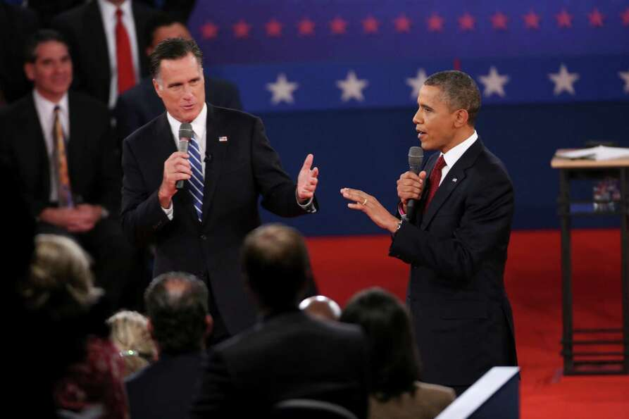 Mitt Romney and President Barack Obama at a town hall style presidential debate at Hofstra Universit