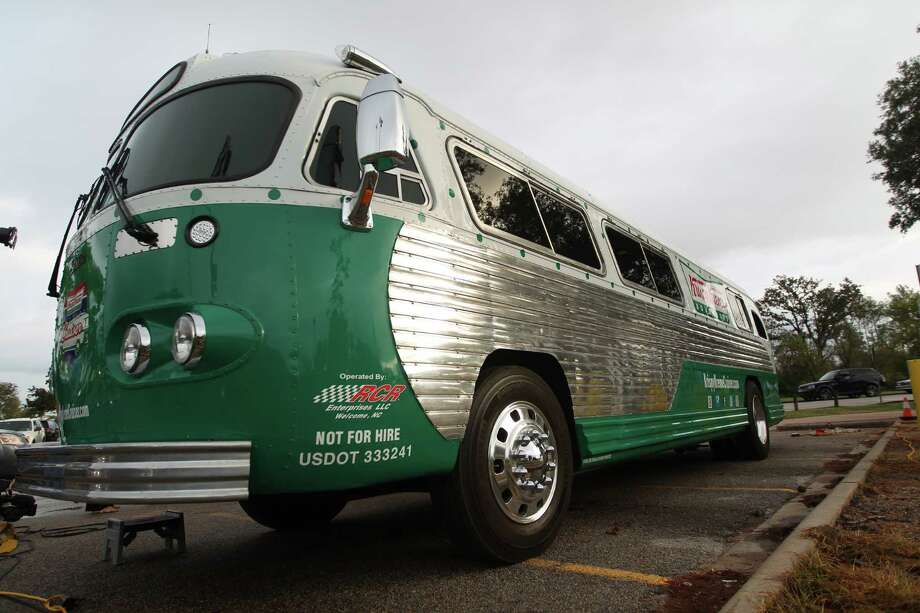 The Krispy Kreme Cruiser, a 1960 Flxible Starliner bus, visits Memorial Park Tuesday, Oct. 17, 2012. Krispy Kreme is promoting its 75th birthday tour in Houston with free doughnuts. Catch  them at the Texas Medical Center at Entrance 6 from 1-2 p.m. Then  it moves to Fox26 studios at 4261 Southwest Fwy from 3-4 p.m. / Johnny Hanson / Houston Chronicle Photo: .