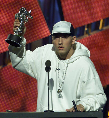 "Eminem continued to pick up the hardware as he accepts the Best Male Video award for his song ""The Real Slim Shady"" at the 2000 MTV Video Music Awards Thursday, Sept. 7, 2000, at Radio City Music Hall in New York. Photo: AP"