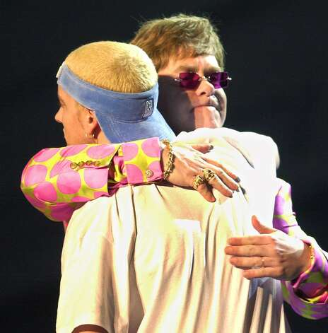 Eminem crosses genres with a duet with Elton John at the 43rd annual Grammy Awards Wednesday, Feb. 21, 2001, at the Staples Center in Los Angeles. Photo: KEVORK DJANSEZIAN, ASSOCIATED PRESS / Associated Press