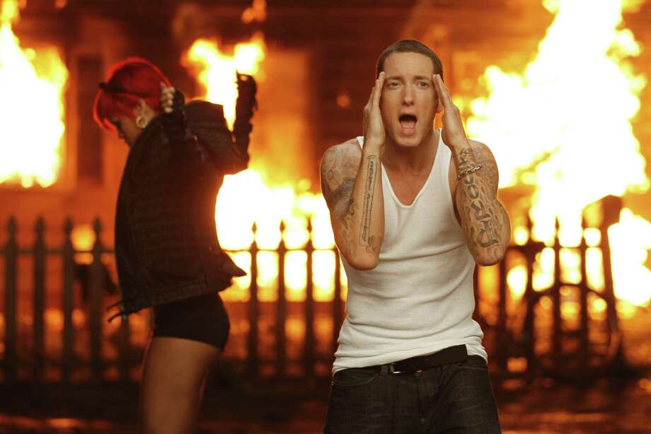 "But he's still breaking new ground: Eminem and Rihanna are shown during the filming of their music video, ""Love the Way You Lie"" which was nominated in the new category Best Video with a Message at the 2011 MTV Video Music Awards. Photo: AP"