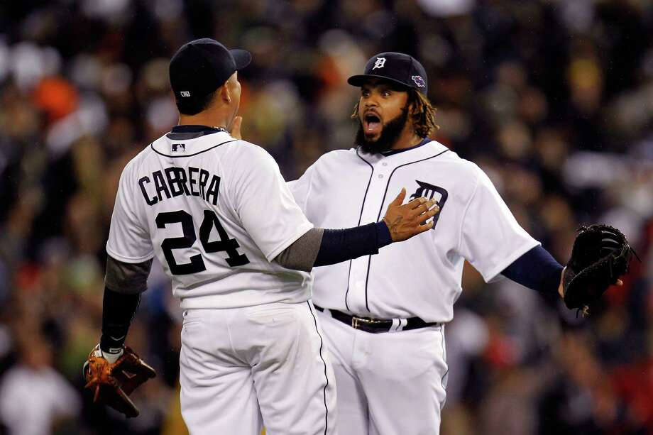 DETROIT, MI - OCTOBER 16:  (L-R) Miguel Cabrera #24 and Prince Fielder #28 of the Detroit Tigers celebrate after they 2-1 against the New York Yankees during game three of the American League Championship Series at Comerica Park on October 16, 2012 in Detroit, Michigan.  (Photo by Gregory Shamus/Getty Images)   *** BESTPIX *** Photo: Gregory Shamus, Getty Images / 2012 Getty Images
