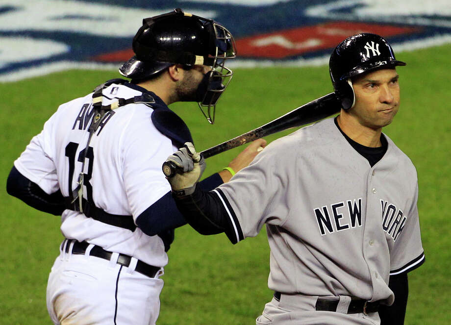 New York Yankees' Raul Ibanez reacts after striking out ending the game as Detroit Tigers' Alex Avila leaves home plate at Game 3 of the American League championship series Tuesday, Oct. 16, 2012, in Detroit. Photo: Carlos Osorio, AP / AP