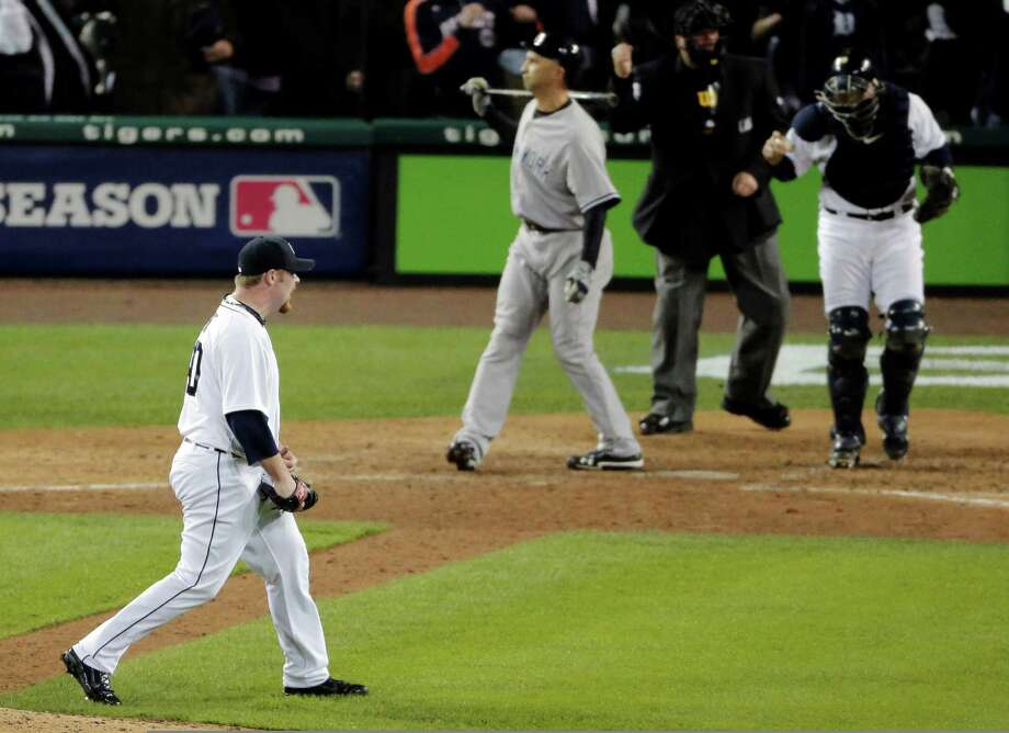 Detroit Tigers' Phil Coke reacts after striking out New York Yankees' Raul Ibanez for the final out during Game 3 of the American League championship series Tuesday, Oct. 16, 2012, in Detroit. Photo: Charlie Riedel, AP / AP