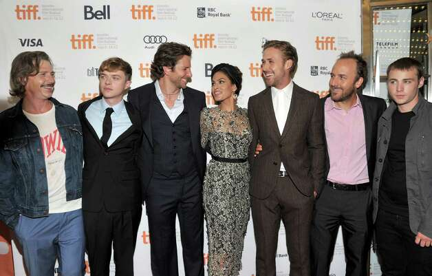 "TORONTO, ON - SEPTEMBER 07:  (L-R) Actors Ben Mendelsohn, Dane DeHaan, Bradley Cooper, Eva Mendes, Ryan Gosling, Writer/Director Derek Cianfrance and actor Emory Cohen attend ""The Place Beyond The Pines"" premiere during the 2012 Toronto International Film Festival at Princess of Wales Theatre on September 7, 2012 in Toronto, Canada.  (Photo by Sonia Recchia/Getty Images) Photo: Sonia Recchia / 2012 Getty Images"