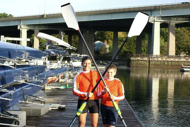 Kristen Erickson and her son, Christopher Bass, will row in the parent/child race at the Head of the Charles crew regatta tomorrow, Saturday, Oct. 20, in Cambridge, Mass. Photo: Contributed Photo