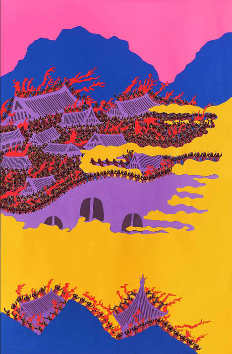 """""""Dong-tak burns Nakyang transferring the capital to Zang-An (from the novel 'Three Kingdoms of China')"""" by Jang Soon Im Photo: Jang Soon Im"""