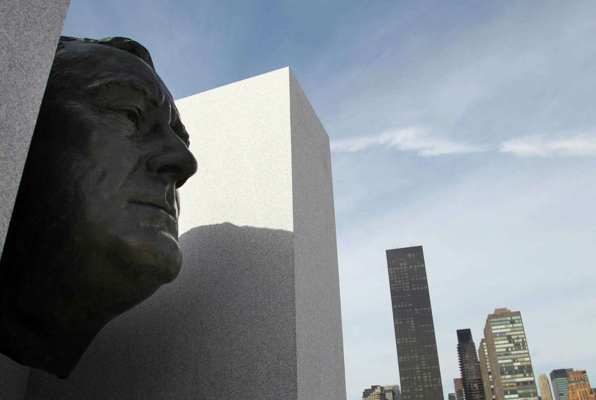 A bronze bust of Franklin D. Roosevelt is part of the new Franklin D. Roosevelt Four Freedoms Park on Roosevelt Island in New York, seen during during the dedication ceremony Wednesday, Oct. 17, 2012. Celebrating a design 40 years in the making, dignitaries on Wednesday dedicated a new memorial park to President Franklin Roosevelt overlooking the United Nations that he helped found.