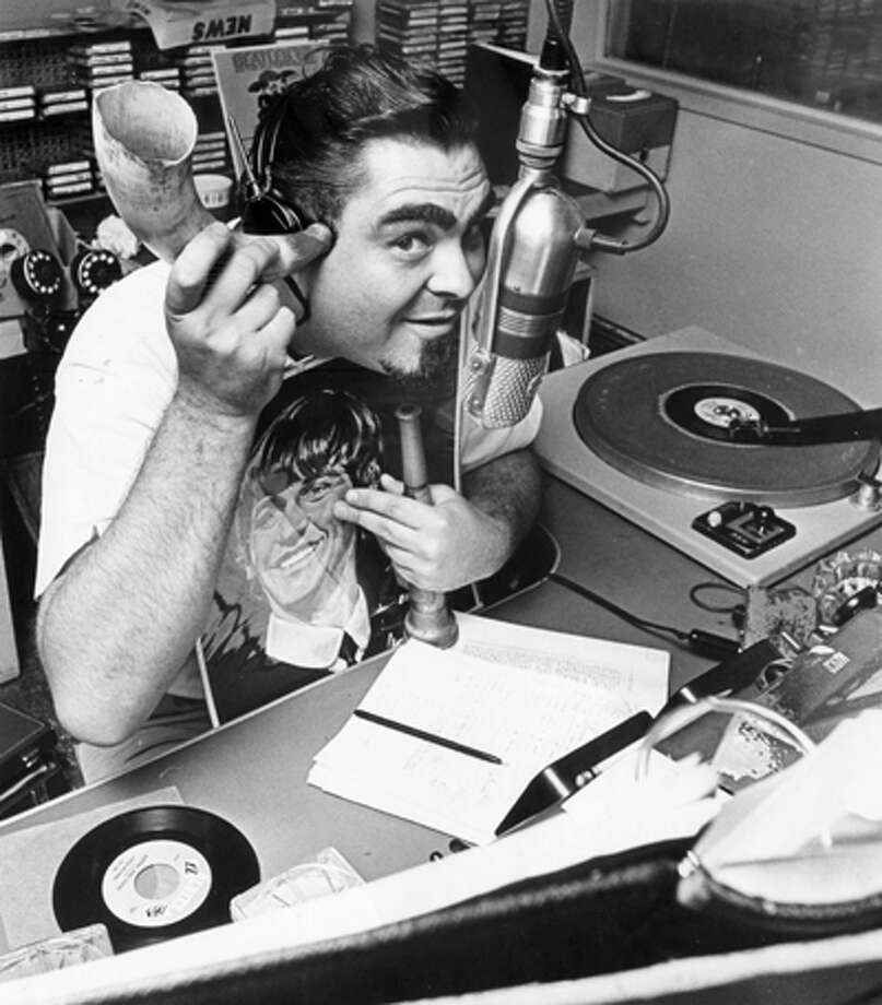"On August 15, 1965, the Chronicle captioned this photo: ""IT'S THE W-E-E-I-R-R-D BEARD, RUSS KNIGHT.  Noisy Antics Overload the Transmitter."" He was KILT's top deejay. Photo: Houston Chronicle / Houston Chronicle"