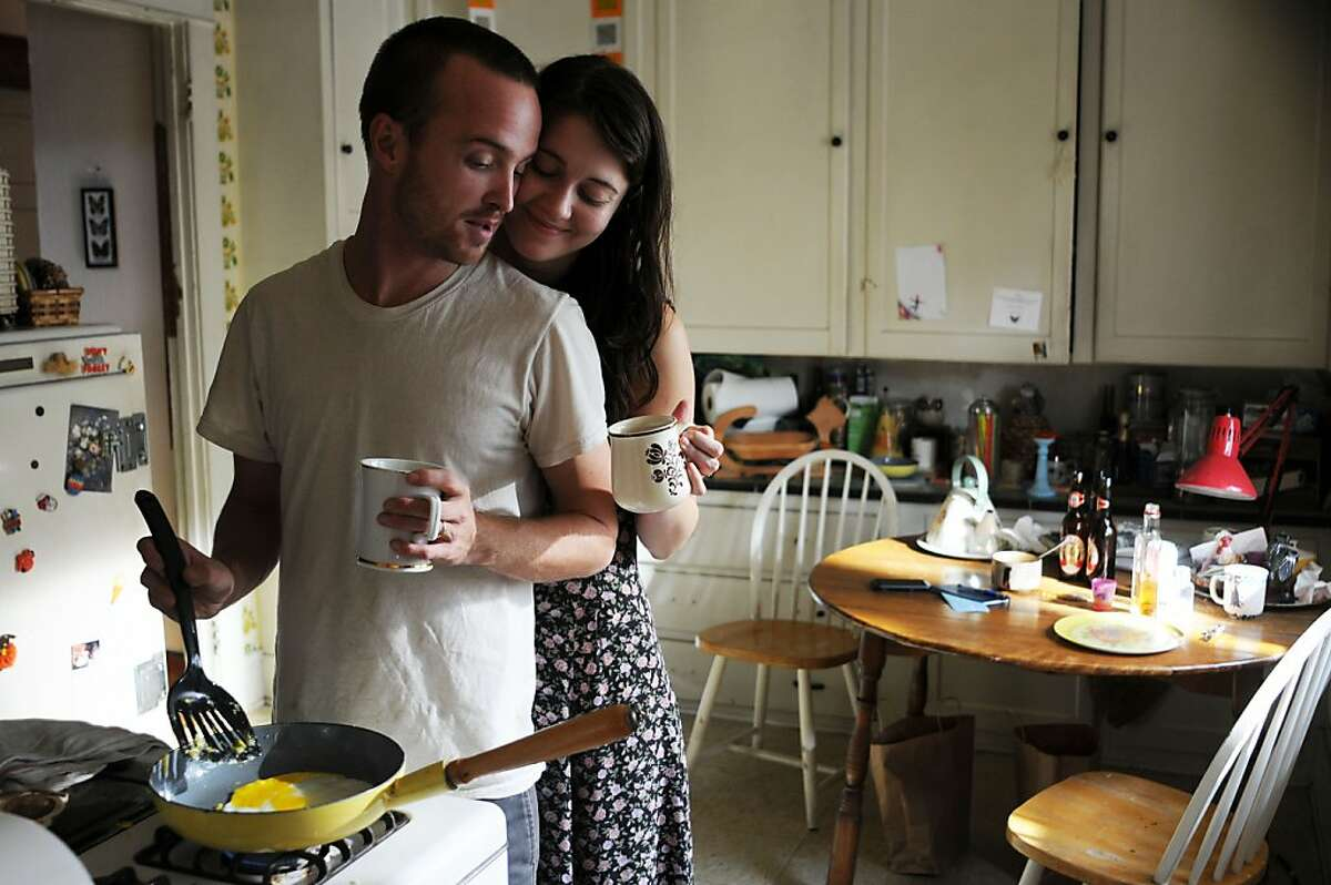 """Left to Right: Aaron Paul as Charlie Hannah and Mary Elizabeth Winstead as Kate Hannah in, """"Smashed."""""""