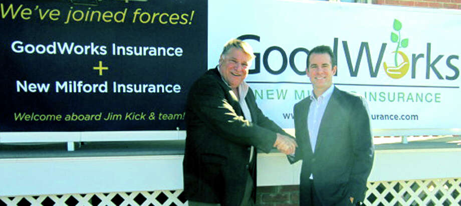 Jim Kick, left, longtime owner of New Milford Insurance Agency, has brought his business into partnership with Chad Yonker's GoodWorks Insurance in New Milford.  Courtesy of GoodWorks Insurance Photo: Contributed Photo