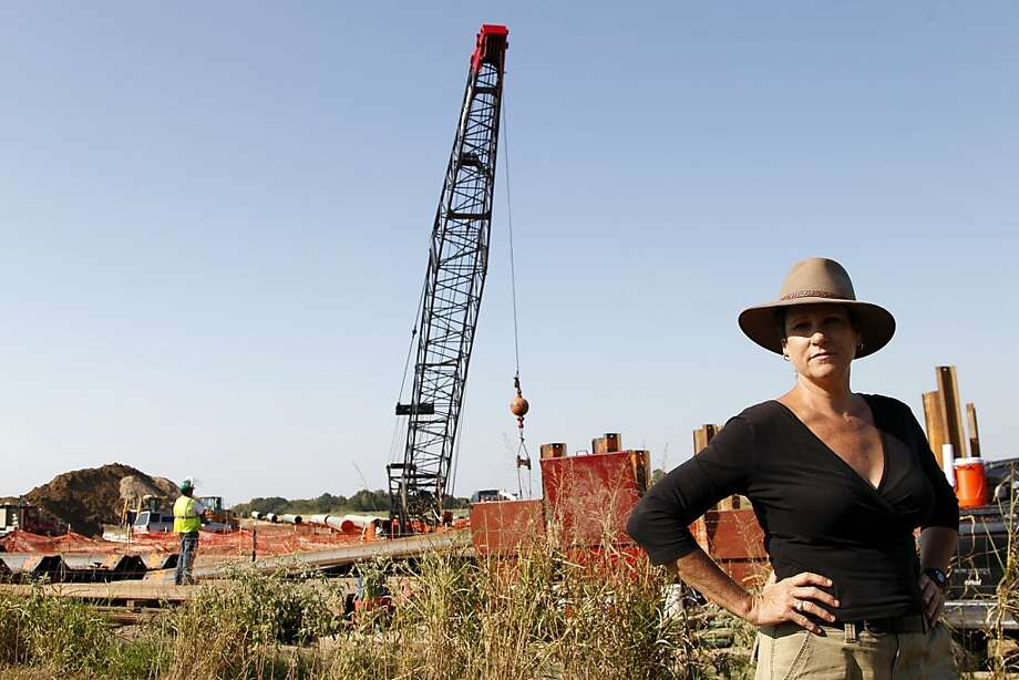 Julia Trigg Crawford stands near a neighbor's property where TransCanada continues work on a pipeline. Photo: Tony Gutierrez, Associated Press