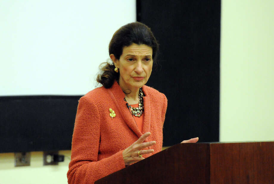 Senator Olympia Snowe, R-Maine, speaks on civility in politics at the Ferguson Library Auditorium in Stamford, Conn., October 17, 2012. Photo: Keelin Daly / Stamford Advocate Freelance