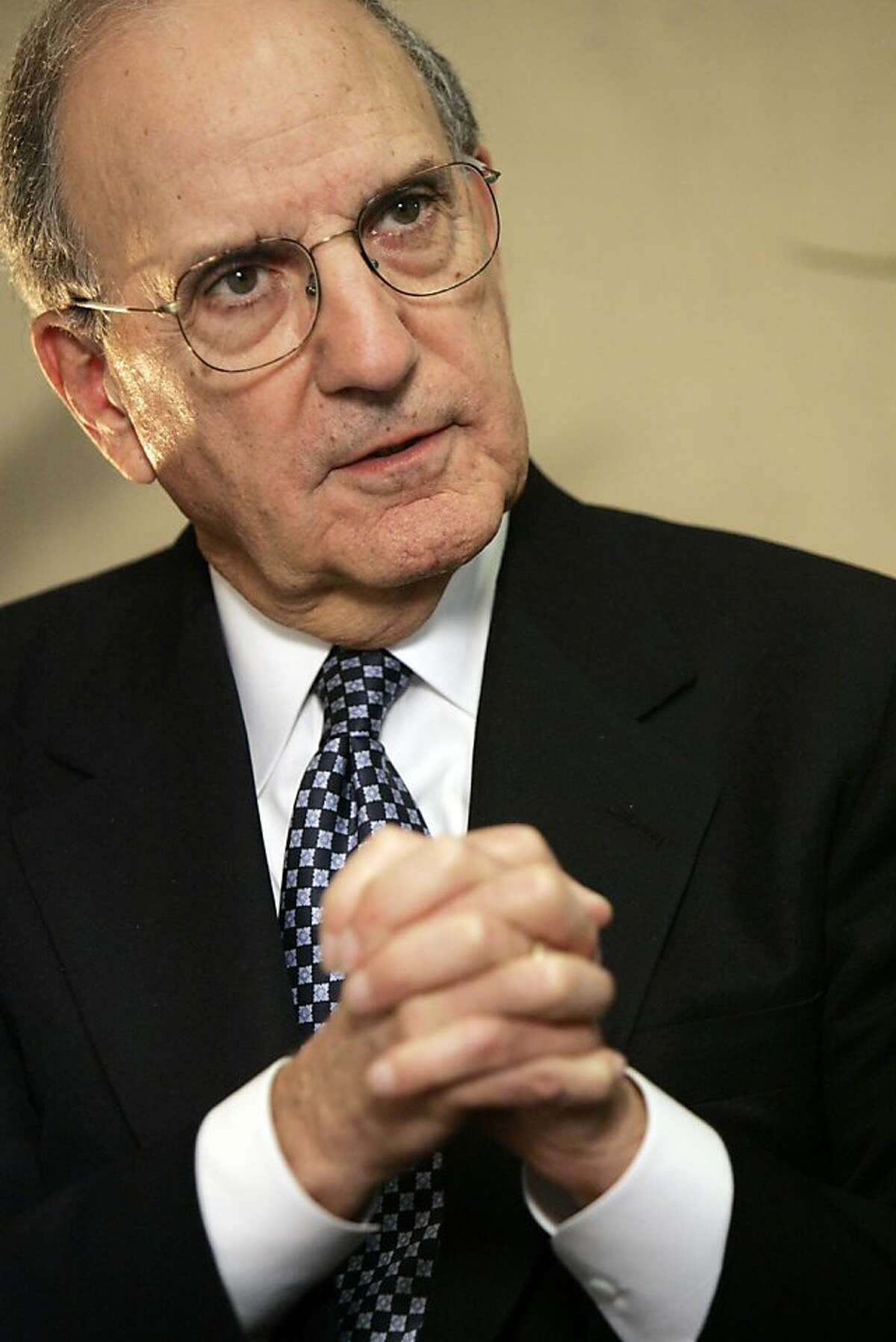 Former Senate Majority Leader George Mitchell is interviewed by the Associated Press, in New York Friday Dec. 14, 2007.