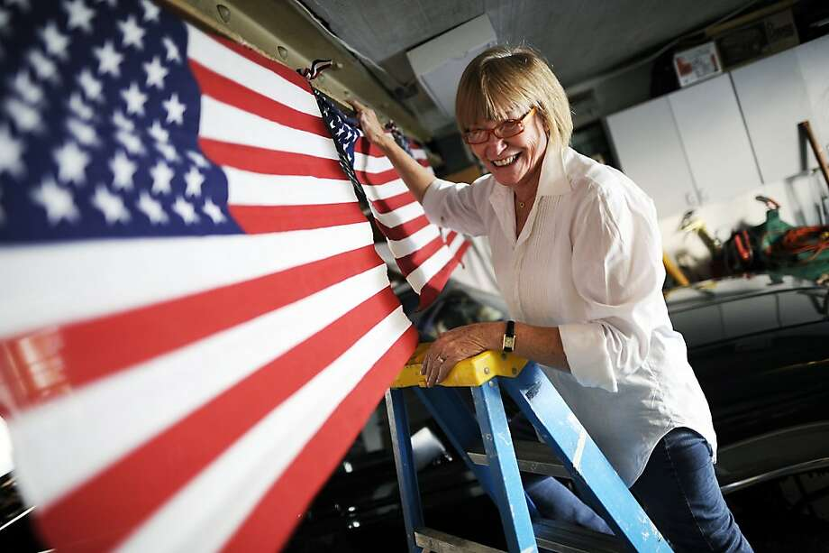 Bonnie Jones not only decorates her garage polling site, she also serves treats and coffee. Photo: Michael Short, Special To The Chronicle