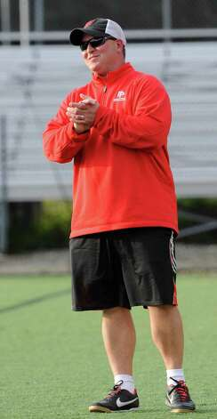 Fairfield Prep high school boys soccer head coach Ryan Lyddy during game against Daniel Hand high school at Fairfield Prep, Fairfield, CT on Wednesday October 17th, 2012. Photo: Mark Conrad / Connecticut Post Freelance