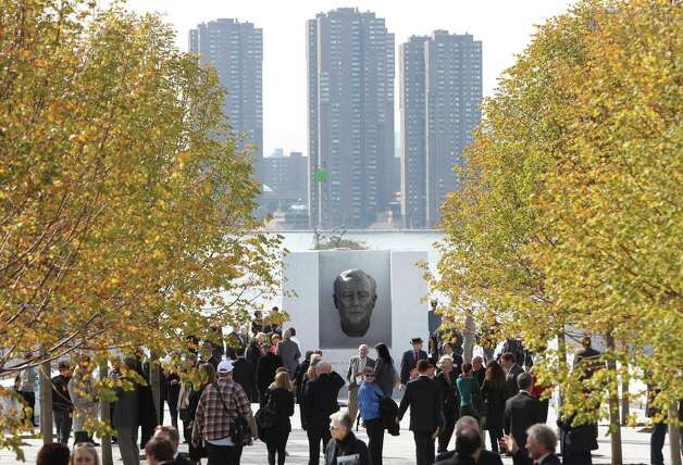 A bust of Franklin D. Roosevelt is displayed during the dedication ceremony of the new Franklin D. Roosevelt Four Freedoms Park in New York, Wednesday, Oct. 17, 2012. Celebrating a design 40 years in the making, dignitaries on Wednesday dedicated a new memorial park to President Franklin Roosevelt overlooking the United Nations that he helped found. (AP Photo/Seth Wenig) Photo: Seth Wenig