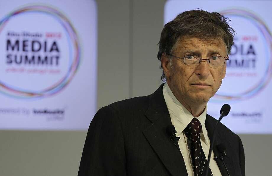 Microsoft founder and philanthropist Bill Gates speaks during the opening session of  the Abu Dhabi Media Summit in United Arab Emirates, Tuesday Oct. 9, 2012. (AP Photo/Kamran Jebreili) Photo: Kamran Jebreili, Associated Press