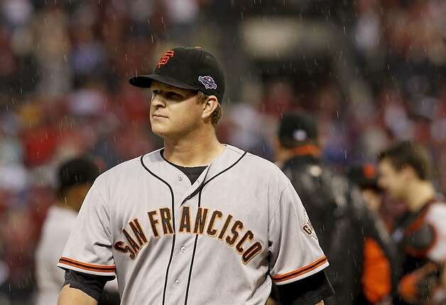 Giants' starting pitcher, Matt Cain is taken out of the game in the seventh inning, as the San Francisco Giants take on the St. Louis Cardinals in game three, of the National League Championship Series  which is tied at 1-1, on Wednesday Oct. 17, 2012. at Busch Stadium ,  in  St. Louis, Mo. Photo: Michael Macor, The Chronicle