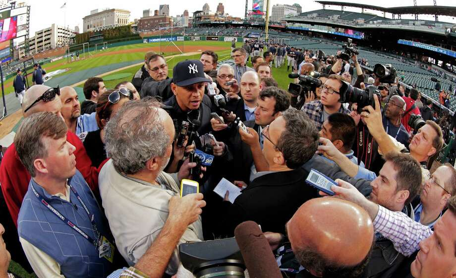New York Yankees' Alex Rodriguez responds to a question from the news media before Game 4 of the American League championship series against the Detroit Tigers Wednesday, Oct. 17, 2012, in Detroit. (AP Photo/Charlie Riedel) Photo: Charlie Riedel