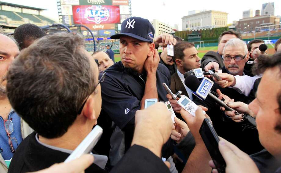 New York Yankees' Alex Rodriguez listens to a question from the media before Game 4 of the American League championship series against the Detroit Tigers  Wednesday, Oct. 17, 2012, in Detroit. (AP Photo/Carlos Osorio) Photo: Carlos Osorio