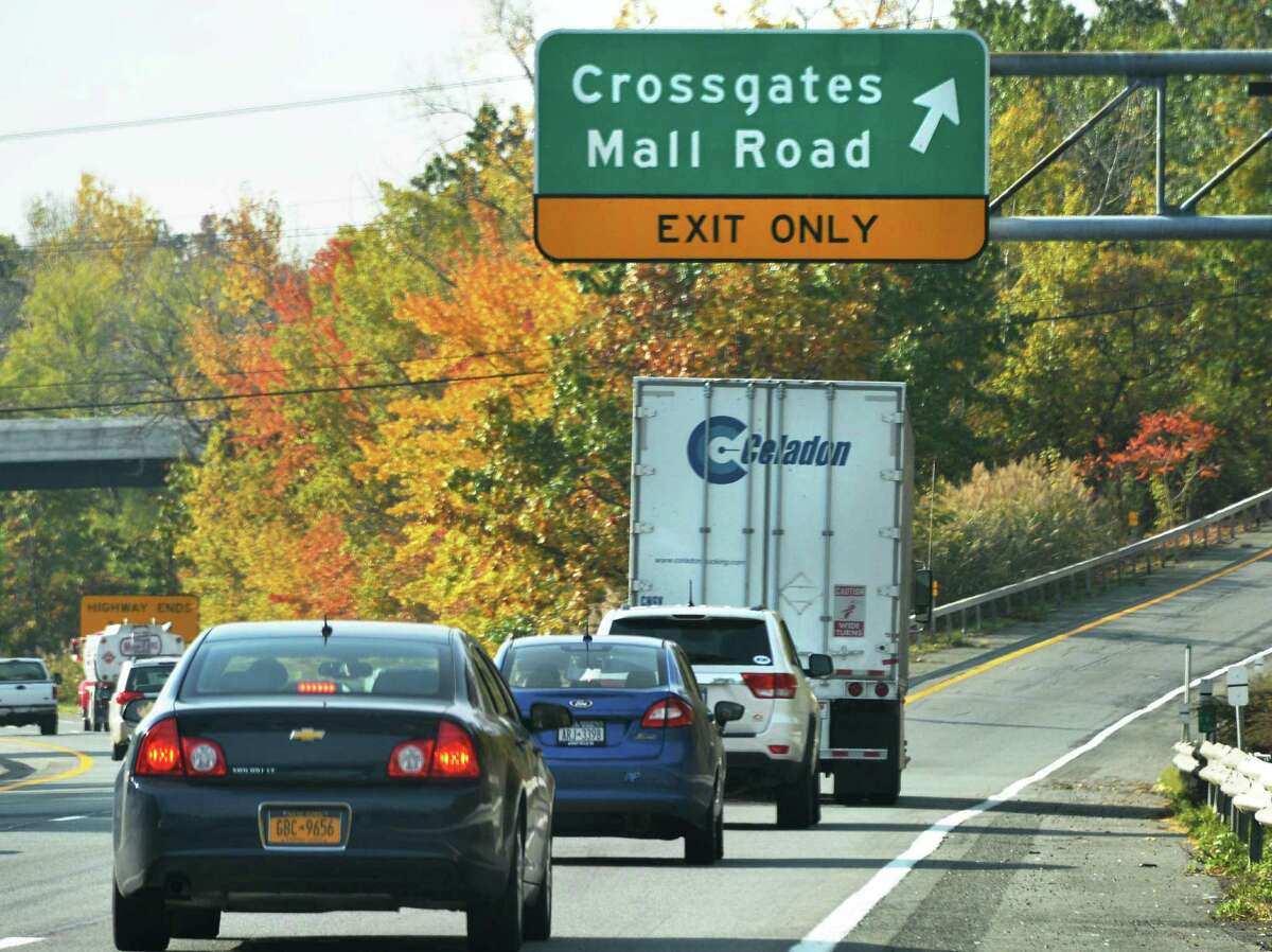 Traffic exits I87 south at the bridge that connects the Northway to Crossgates Mall in Guilderland Wednesday Oct. 17, 2012. (John Carl D'Annibale / Times Union)