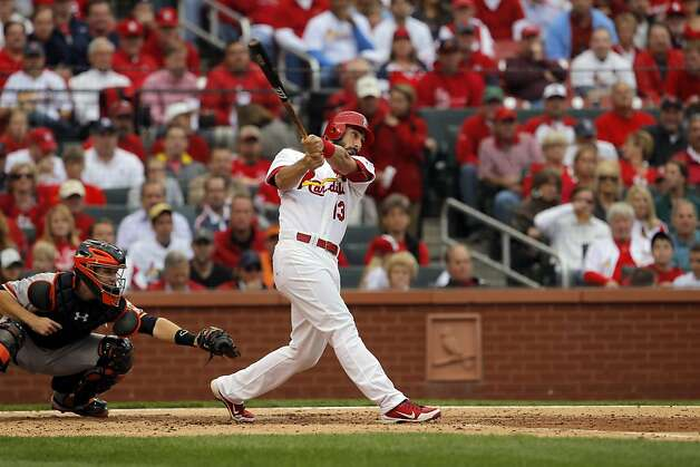 Matt Carpenter watches the flight of his two-run homerun in the third inning. The San Francisco Giants played the St. Louis Cardinals in Game 3 of the National League Championship Series at Busch Stadium on Wednesday, October 17, 2012, in St. Louis, Mo. Photo: Carlos Avila Gonzalez, The Chronicle