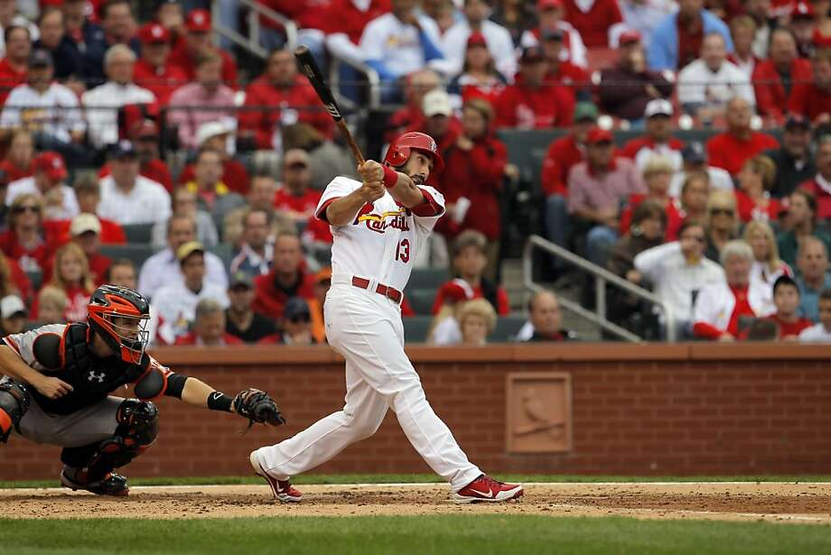 Matt Carpenter hits Matt Cain's 2-2 slider over the wall in right to put St. Louis up 2-1 and make him 5-for-5 against Cain. Photo: Carlos Avila Gonzalez, The Chronicle