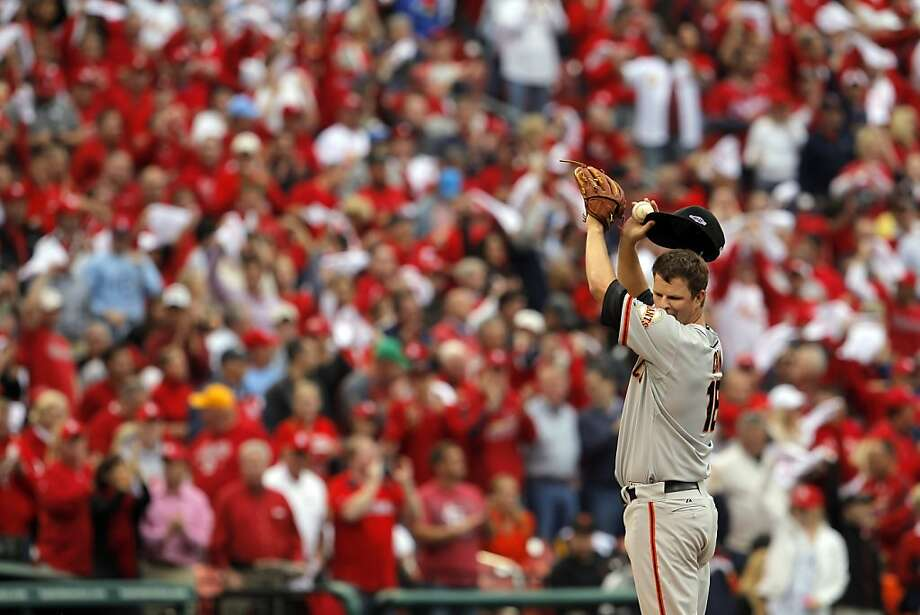 Matt Cain wipes his face after giving up a two-run homerun in the third inning. The San Francisco Giants played the St. Louis Cardinals in Game 3 of the National League Championship Series at Busch Stadium on Wednesday, October 17, 2012, in St. Louis, Mo. Photo: Carlos Avila Gonzalez, The Chronicle