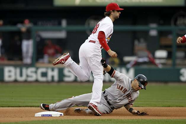 Giants' Marco Scutaro is out at second base by Cardinals' Pete Kozma as teammate Pablo Sandoval hit into a double play and is out at first in the fifth innning, the San Francisco Giants take on the St. Louis Cardinals in game three, of the National League Championship Series  which is tied at 1-1, on Wednesday Oct. 17, 2012. at Busch Stadium ,  in  St. Louis, Mo. Photo: Michael Macor, The Chronicle