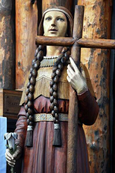 A statue of Kateri Tekakwitha in the coliseum at the Shrine of Our Lady of Martyrs in Auriesville We
