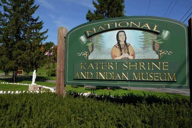 Sign at The National Shrine of St. Kateri Tekakwitha in Fonda Wednesday Oct. 17, 2012.  (John Carl D'Annibale / Times Union) Photo: John Carl D'Annibale / 00019706A