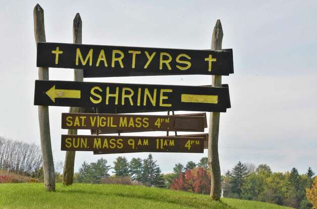 Sign at the Shrine of Our Lady of Martyrs in Auriesville Wednesday Oct. 17, 2012.  (John Carl D'Annibale / Times Union) Photo: John Carl D'Annibale / 00019706A