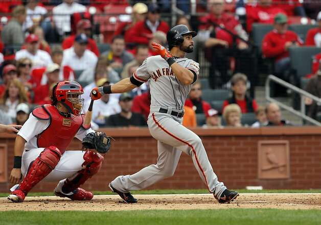 Angel Pagan singled to start off the third inning, and would later score on a Pablo Sandoval ground out. The San Francisco Giants played the St. Louis Cardinals in Game 3 of the National League Championship Series at Busch Stadium on Wednesday, October 17, 2012, in St. Louis, Mo. Photo: Carlos Avila Gonzalez, The Chronicle