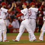 The Cardinals celebrate after defeating the Giants 3-1. The San Francisco Giants played the St. Louis Cardinals in Game 3 of the National League Championship Series at Busch Stadium on Wednesday, October 17, 2012, in St. Louis, Mo.