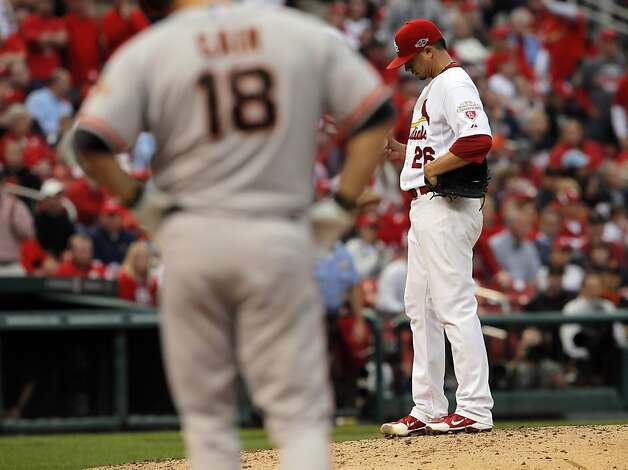 Kyle Lohse waits to be relieved in the sixth inning after giving up a hit to Matt Cain. The San Francisco Giants played the St. Louis Cardinals in Game 3 of the National League Championship Series at Busch Stadium on Wednesday, October 17, 2012, in St. Louis, Mo. Photo: Carlos Avila Gonzalez, The Chronicle