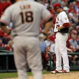 Kyle Lohse waits to be relieved in the sixth inning after giving up a hit to Matt Cain. The San Francisco Giants played the St. Louis Cardinals in Game 3 of the National League Championship Series at Busch Stadium on Wednesday, October 17, 2012, in St. Louis, Mo.
